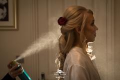 bride hairspray bridal prep