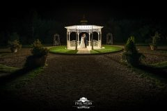 wedding pictures bride groom manor by the lake bandstand night