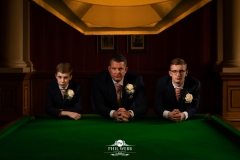 groom snooker table wedding day