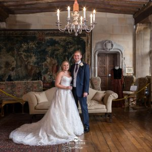 bride and groom at Berkley Castle