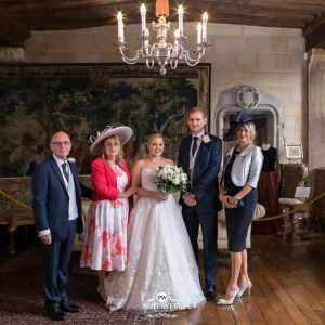 group wedding picture inside Berkley Castle