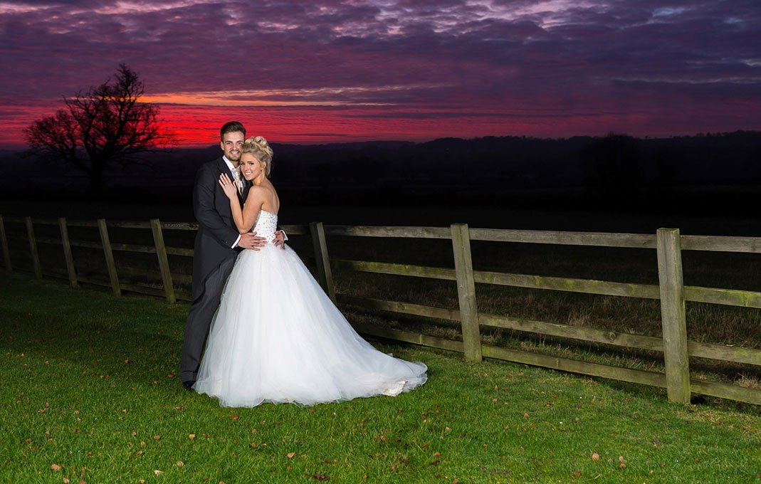Hyde barn wedding bride groom sunset