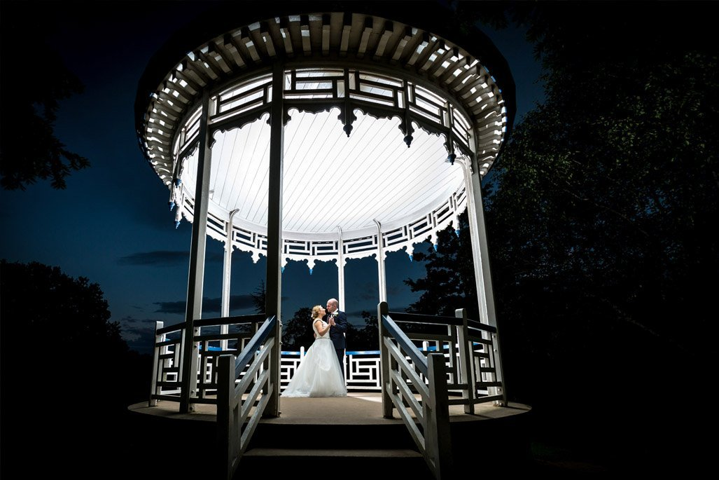 Pitville pump rooms wedding bride and groom bandstand